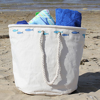 Big 'Fish' Canvas Beach Bag