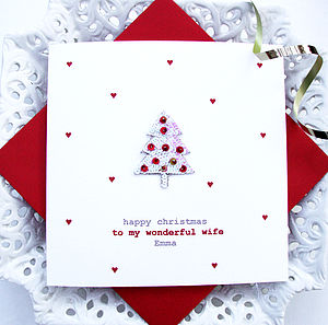 Personalised Red Christmas Tree Card - christmas sale