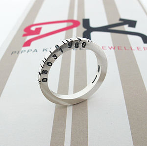 Thin Square Silver Barcode Ring - personalised jewellery