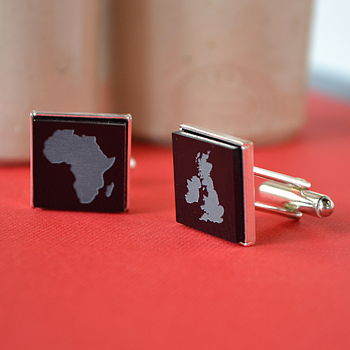 Personalised Map Silver Plated Cufflinks
