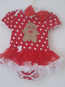 Christmas Gingerbread Onesie And Pettiskirt - babygrows