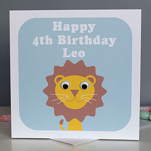 Personalised Wobbly Eyed Lion Card - birthday cards