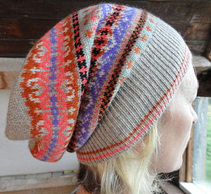 Fairisle Jacquard Hat In 100% Cashmere - hats, scarves & gloves