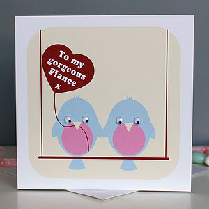 Wobbly Eyed Love Birds Card - engagement cards