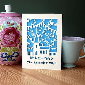Personalised Winter Wedding Papercut Card - cards