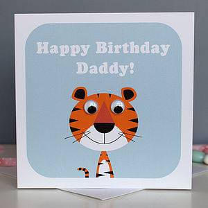 Wobbly Eyed Tiger Card - birthday cards