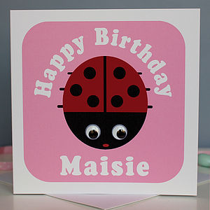 Wobbly Eyed Ladybird Card - birthday cards