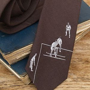 Personalised Cricket Print Wool Tie - ties & tie clips