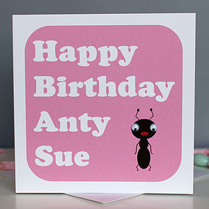 Personalised 'Happy Birthday Anty' Card - birthday cards