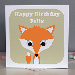 Wobbly Eyed Fox Card - birthday cards