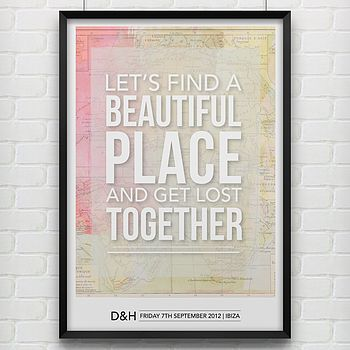 Personalised 'Lets Find A Place' Map Print