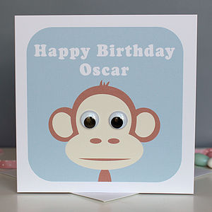 Wobbly Eyed Monkey Card - children's birthday cards
