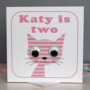 Wobbly Eyed Stripey Cat Card - birthday cards