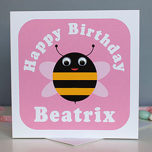 Wobbly Eyed Bee Card - birthday cards