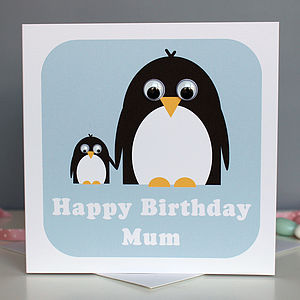 Wobbly Eyed Penguin Card - mother's day cards