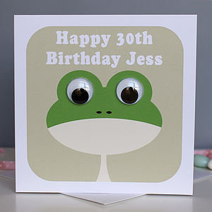 Wobbly Eyed Frog Card - birthday cards