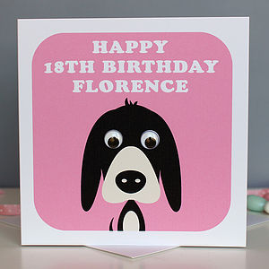 Personalised Wobbly Eyed Animal Cards - birthday cards