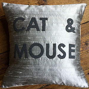 'Cat And Mouse' Appliqué Cushion - patterned cushions