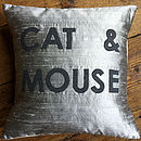 'Cat And Mouse' Appliqué Cushion