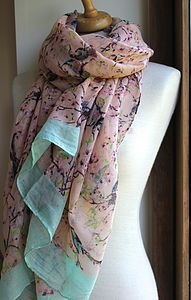 Blush Bird Print Scarf - hats, scarves & gloves