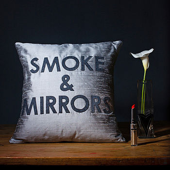 'Smoke And Mirrors' Silk Appliqué Cushion