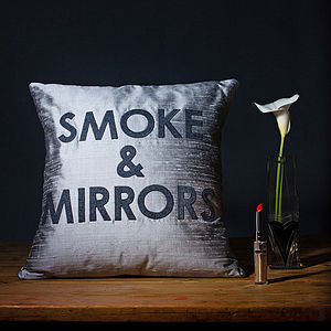 'Smoke And Mirrors' Silk Appliqué Cushion - cushions