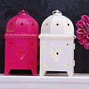 Heart Pierced Metal Lanterns, Pink & White