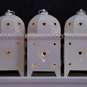 Heart Pierced Metal Lantern - candles & candlesticks