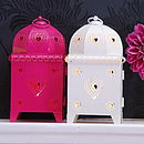 Heart Metal Lantern (pink & white)