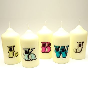 Personalised Initial Candle - Lime, Light Blue, Magenta, Turquoise and Clear