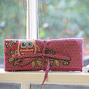 Jewellery Roll With Owl Sequin Embroidery