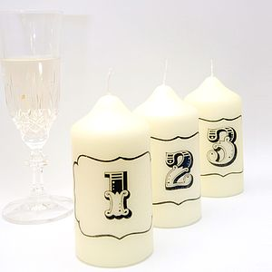 Vintage Style Table Number Candle - table decorations