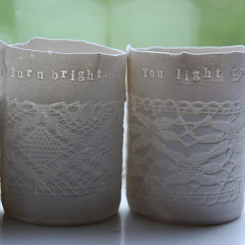 Personalised Porcelain Tea Light Holder