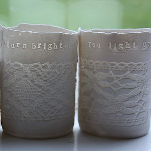 Personalised Porcelain Tea Light Holder - candles & candlesticks