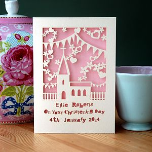 Personalised Papercut Christening Card