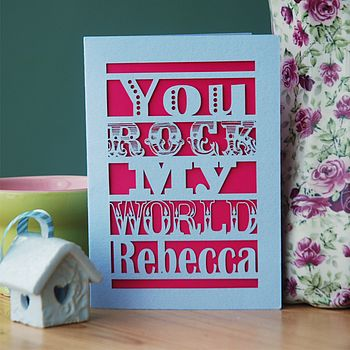 Personalised 'You Rock My World' Card