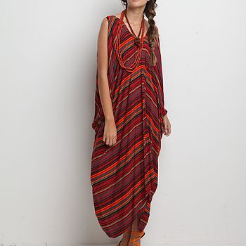 Plunging V Kaftan Dress - Safari (Red Stripe)