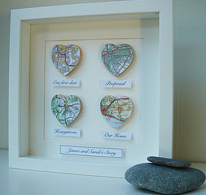 Personalised Map Hearts Story Picture - for travellers