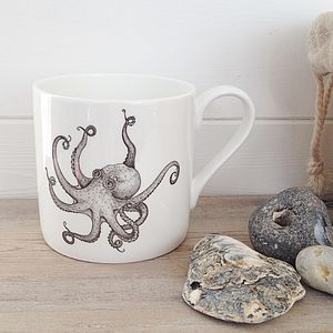 Vintage Style Octopus Illustration Mug