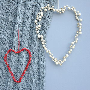 Wooden Beaded Heart Decorations