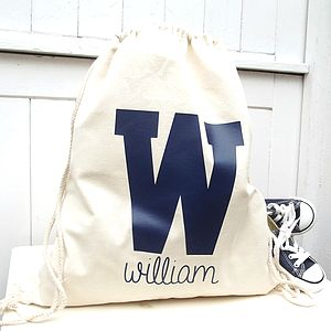 College Initial Personalised Drawstring Storage Bag - children's room