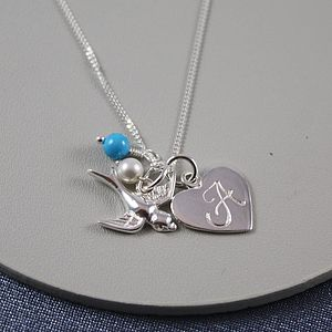 Silver Birthstone Necklace With Swallow - children's jewellery