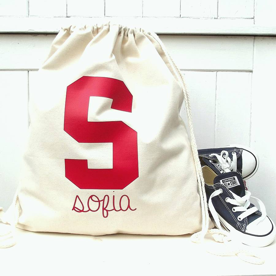 college initial personalised drawstring storage bag by rosie jo's ...