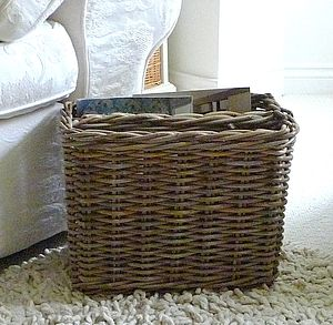 Woven Wicker Magazine Basket - living room