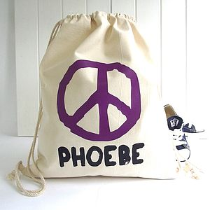 Personalised 'Peace' Drawstring Storage Bag
