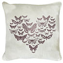 Pink Butterfly Heart Cushion On White Linen