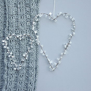 Crystal Beaded Heart Decorations