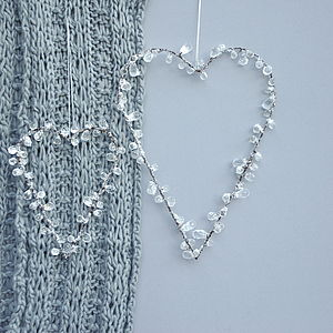 Crystal Beaded Heart Decorations - trees & flowers