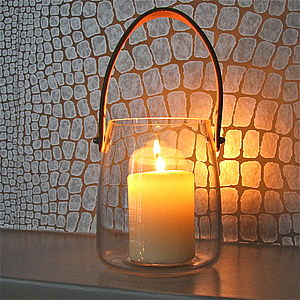 Glass Lantern With Faux Leather Handle - lighting