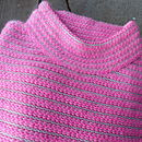 Stripe Funnel Neck Jumper in Fluo Pink/Ecru